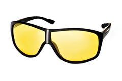 与黄色透镜的时髦的时兴的玻璃 免版税库存照片