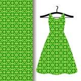 与绿色阿拉伯样式的礼服织品 库存例证
