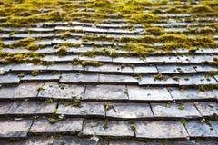 与绿色青苔的老石屋顶盖瓦 库存图片