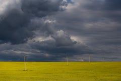 与黄色领域的庄严和美好的农村风景和与黑暗的云彩的雷暴 库存图片
