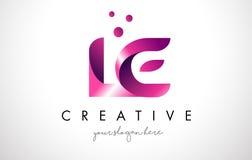与紫色颜色和小点的LE Letter Logo设计 免版税库存图片