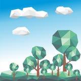 与绿色风景的低多树 库存照片