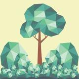与绿色风景的低多树 免版税库存照片