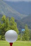 与绿色风景的高尔夫球 免版税库存照片