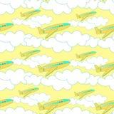 与黄色飞机的无缝的样式有在日落的云彩的 向量例证