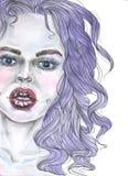 与紫色头发的Gerl画象 库存图片