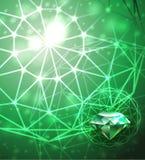 与绿宝石的背景 免版税图库摄影