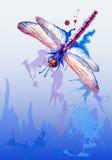 与紫色水彩蜻蜓的传染媒介背景 免版税库存图片