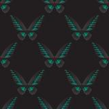 与绿色黑蝴蝶的无缝的样式 图库摄影