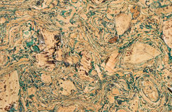 与绿色结辨的线的美好的棕色黄柏纹理 库存图片