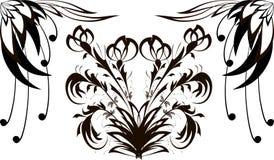 与黑花纹花样的无缝的样式在白色在一个瘦长的类型的背景中 免版税库存图片