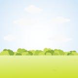 与绿草和布什的领域风景 也corel凹道例证向量 免版税库存照片