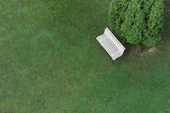 与绿草的白色长凳 库存照片