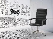 与经营计划的办公室椅子 免版税库存照片