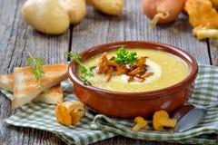 与黄蘑菇的土豆汤 免版税库存图片