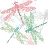 与蜻蜓的样式 免版税库存图片