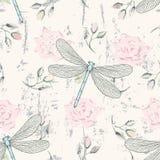 与蜻蜓的脏的花卉无缝的样式 免版税库存图片