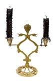 与黑蜡烛的葡萄酒灯台 免版税图库摄影