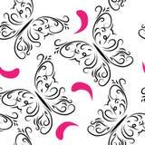 与蝴蝶和玫瑰花瓣的装饰无缝的样式 免版税库存图片