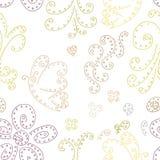 与蝴蝶和花的无缝的样式背景 无缝的样式背景摘要curlicues 图库摄影