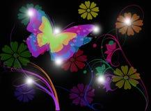 与蝴蝶和花的自然背景在黑背景 库存照片