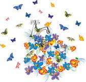 与蝴蝶和花的滴下的轻拍 免版税库存照片