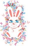 与蝴蝶的兔子 免版税库存图片