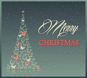 与蝴蝶的圣诞节背景 免版税图库摄影