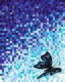 与蝴蝶的抽象白色和蓝色背景 免版税库存图片