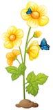 与蝴蝶的新鲜的黄色花 向量例证