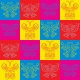 与蝴蝶的时髦的装饰背景 免版税库存照片