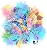 与蝴蝶的浪漫五颜六色的花卉背景 免版税库存图片