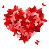 与蝴蝶的红色心脏为情人节。爱概念。 免版税库存照片