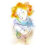 与蝴蝶的美丽的女孩的面孔在她的头发 在传染媒介的水彩例证 免版税库存图片