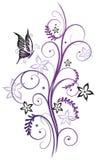 与蝴蝶的花 库存例证