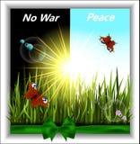 与蝴蝶的绿草在阳光下 库存例证