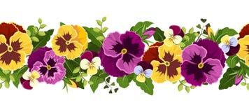 与蝴蝶花花的水平的无缝的背景。 免版税库存图片