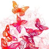 与蝴蝶,水彩(vect的惊人的五颜六色的背景 图库摄影