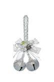 与蝴蝶结,垂悬的装饰的豪华银色门铃 免版税库存照片