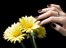 与黑表面无光泽的指甲油的被修剪的钉子 修指甲以黑暗 库存照片