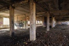 与破裂的杆和建筑wa的被放弃的苏联大厦 免版税图库摄影