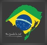 与巴西国旗例证的南里奥格兰德州地图 向量例证