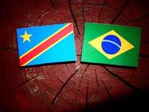 与巴西旗子的刚果民主共和国旗子在t 库存照片