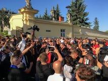 与主要乌克兰希腊人的身体的告别仪式 库存图片