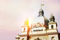 与主要火车站的卡片在利沃夫州,乌克兰 库存照片