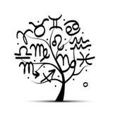 与黄道带的艺术树为您的设计签字 免版税库存照片