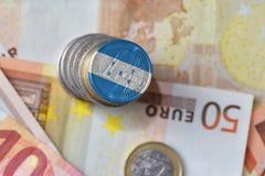 与洪都拉斯的国旗的欧洲硬币欧洲金钱钞票背景的 免版税库存照片