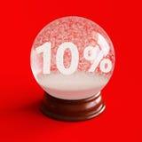 与10%里面折扣标题的雪地球 免版税库存照片
