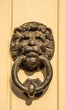 与黄铜敲门人的门以lion& x27的形式; s头,美好 免版税库存照片