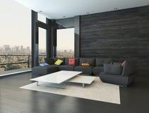 与黑长沙发的客厅内部有色的枕头的 免版税库存照片